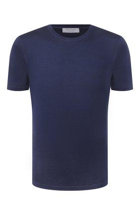 Мужская шелковая футболка GRAN SASSO синего цвета, арт. 60133/78302 | Фото 1 (Принт: Однотонные, Без принта; Материал внешний: Шелк; Стили: Кэжуэл; Рукава: Короткие; Длина (для топов): Стандартные)