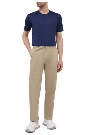 Мужская шелковая футболка GRAN SASSO синего цвета, арт. 60133/78302 | Фото 2 (Принт: Однотонные, Без принта; Материал внешний: Шелк; Стили: Кэжуэл; Рукава: Короткие; Длина (для топов): Стандартные)