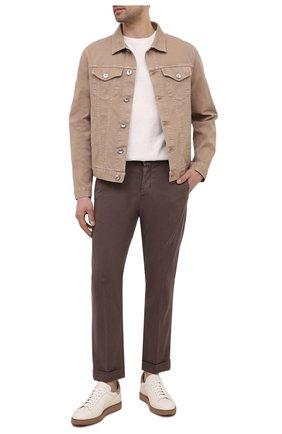 Мужские кожаные кеды BRUNELLO CUCINELLI кремвого цвета, арт. MZUALSL229 | Фото 2 (Подошва: Массивная; Материал внутренний: Натуральная кожа)