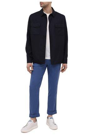 Мужские кожаные кеды BRUNELLO CUCINELLI голубого цвета, арт. MZUBTSJ233 | Фото 2