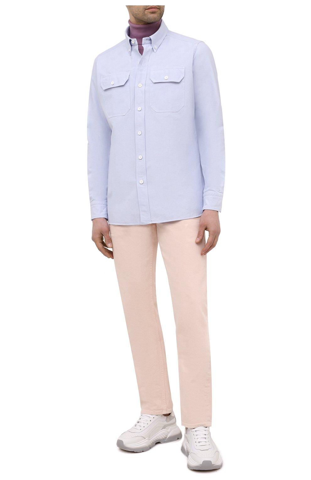 Мужские джинсы TOM FORD светло-розового цвета, арт. BWJ32/TFD002 | Фото 2 (Силуэт М (брюки): Прямые; Кросс-КТ: Деним; Длина (брюки, джинсы): Стандартные; Материал внешний: Хлопок; Стили: Кэжуэл)