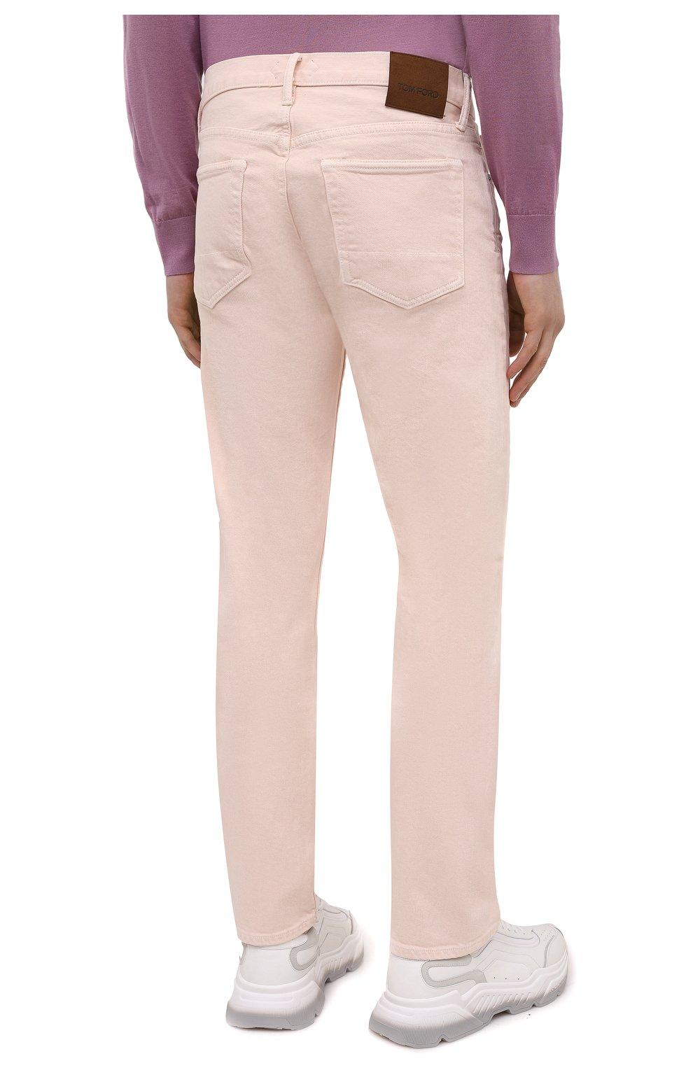 Мужские джинсы TOM FORD светло-розового цвета, арт. BWJ32/TFD002 | Фото 4 (Силуэт М (брюки): Прямые; Кросс-КТ: Деним; Длина (брюки, джинсы): Стандартные; Материал внешний: Хлопок; Стили: Кэжуэл)