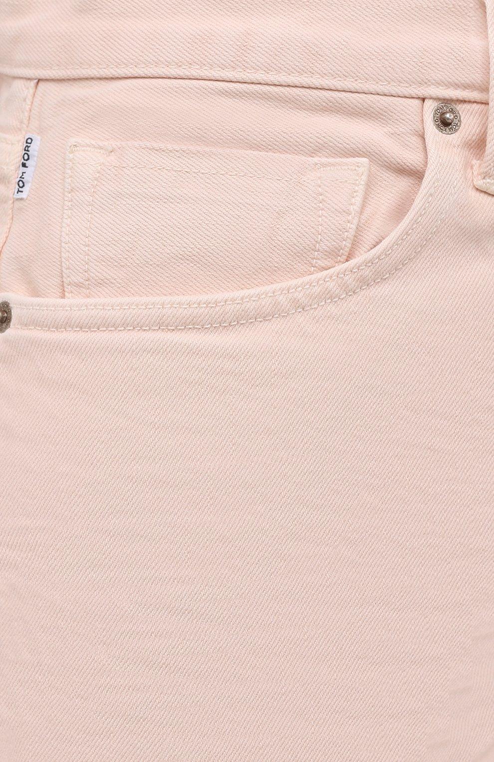 Мужские джинсы TOM FORD светло-розового цвета, арт. BWJ32/TFD002 | Фото 5 (Силуэт М (брюки): Прямые; Кросс-КТ: Деним; Длина (брюки, джинсы): Стандартные; Материал внешний: Хлопок; Стили: Кэжуэл)