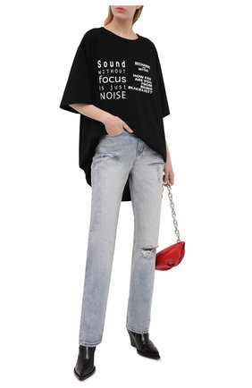 Женская хлопковая футболка YOHJI YAMAMOTO черного цвета, арт. ND-T77-999   Фото 2