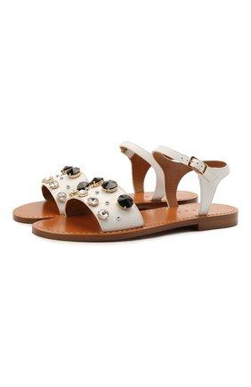 Женские кожаные сандалии MARNI белого цвета, арт. SAMS012300/P4107 | Фото 1