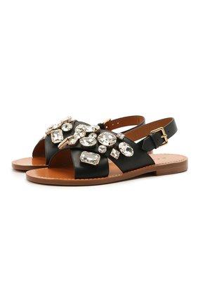 Женские кожаные сандалии MARNI черного цвета, арт. SAMS012400/P4107 | Фото 1 (Каблук высота: Низкий; Материал внутренний: Натуральная кожа; Подошва: Плоская)