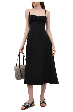 Женские кожаные сандалии MARNI черного цвета, арт. SAMS012400/P4107 | Фото 2 (Каблук высота: Низкий; Материал внутренний: Натуральная кожа; Подошва: Плоская)