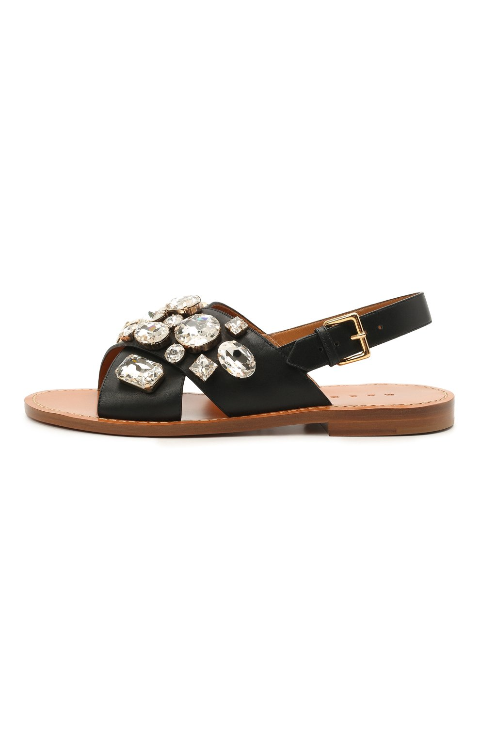 Женские кожаные сандалии MARNI черного цвета, арт. SAMS012400/P4107 | Фото 3 (Каблук высота: Низкий; Материал внутренний: Натуральная кожа; Подошва: Плоская)
