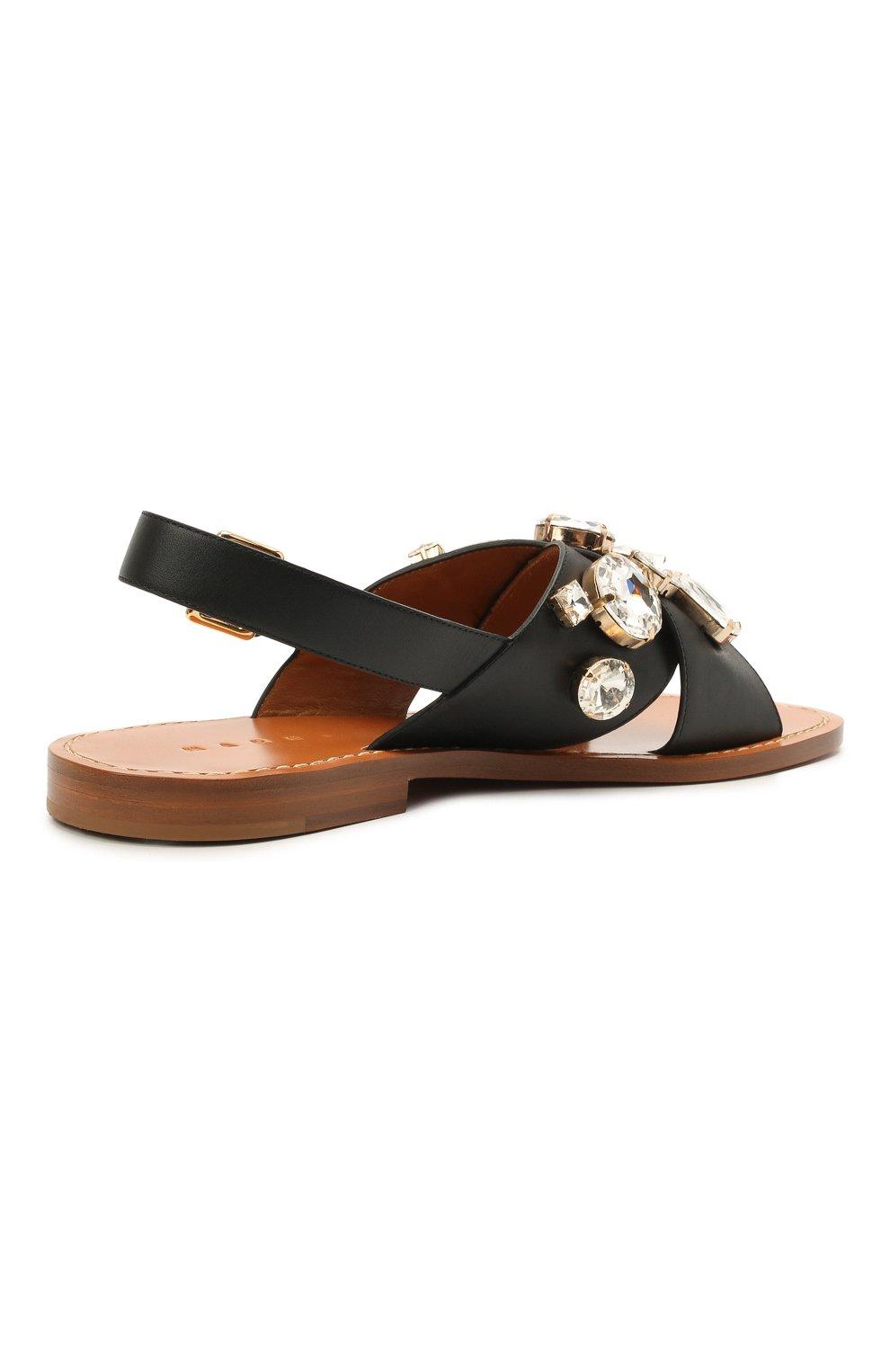 Женские кожаные сандалии MARNI черного цвета, арт. SAMS012400/P4107 | Фото 4 (Каблук высота: Низкий; Материал внутренний: Натуральная кожа; Подошва: Плоская)