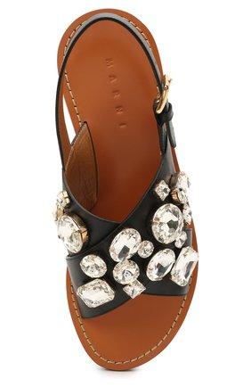 Женские кожаные сандалии MARNI черного цвета, арт. SAMS012400/P4107 | Фото 5 (Каблук высота: Низкий; Материал внутренний: Натуральная кожа; Подошва: Плоская)
