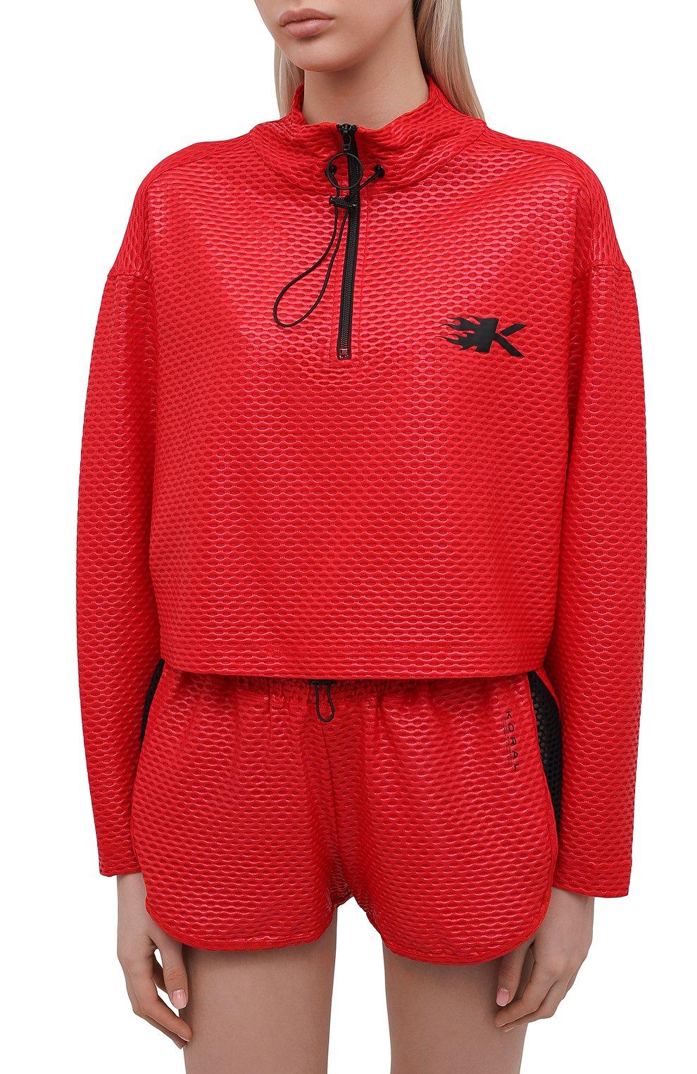 Женская анорак KORAL красного цвета, арт. A6477K09 | Фото 3 (Кросс-КТ: Куртка; Рукава: Длинные; Материал внешний: Синтетический материал; Стили: Спорт-шик; Длина (верхняя одежда): Короткие)