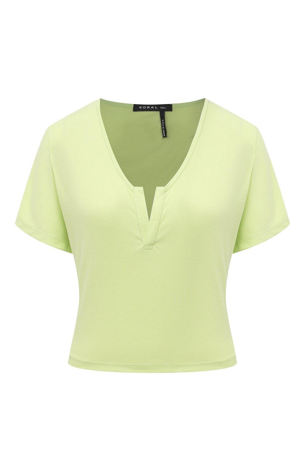 Женская футболка KORAL зеленого цвета, арт. A6427J85 | Фото 1 (Женское Кросс-КТ: Футболка-спорт, Футболка-одежда; Принт: Без принта; Рукава: Короткие; Материал внешний: Синтетический материал; Стили: Спорт-шик; Длина (для топов): Укороченные)