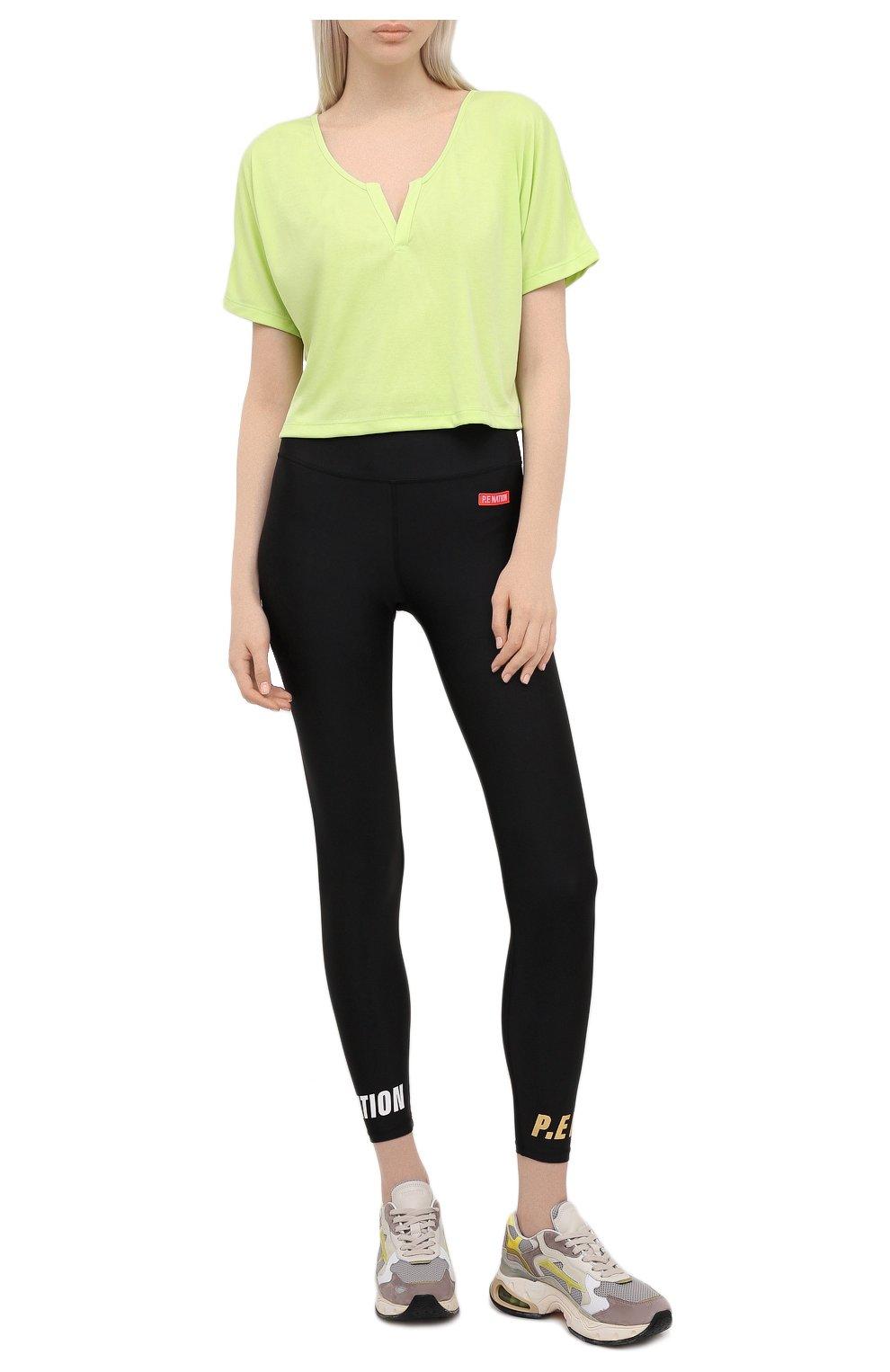 Женская футболка KORAL зеленого цвета, арт. A6427J85 | Фото 2 (Женское Кросс-КТ: Футболка-спорт, Футболка-одежда; Принт: Без принта; Рукава: Короткие; Материал внешний: Синтетический материал; Стили: Спорт-шик; Длина (для топов): Укороченные)