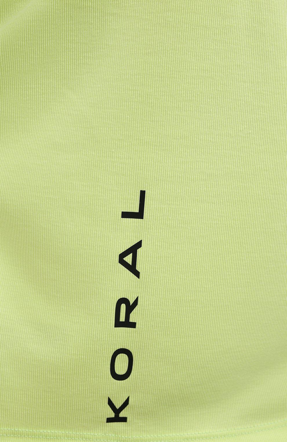Женская футболка KORAL зеленого цвета, арт. A6427J85 | Фото 5 (Женское Кросс-КТ: Футболка-спорт, Футболка-одежда; Принт: Без принта; Рукава: Короткие; Материал внешний: Синтетический материал; Стили: Спорт-шик; Длина (для топов): Укороченные)