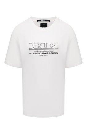 Женская хлопковая футболка KSUBI белого цвета, арт. 5000005845   Фото 1