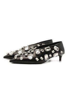 Женские кожаные туфли JIL SANDER черного цвета, арт. JS36124A-13030   Фото 1