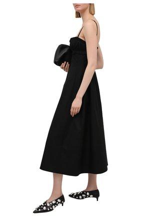 Женские кожаные туфли JIL SANDER черного цвета, арт. JS36124A-13030   Фото 2