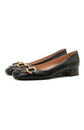 Женские кожаные туфли GUCCI черного цвета, арт. 645600/C9D00   Фото 1