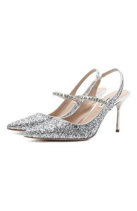 Женские комбинированные туфли MIU MIU серебряного цвета, арт. 5I006C/ZHM   Фото 1