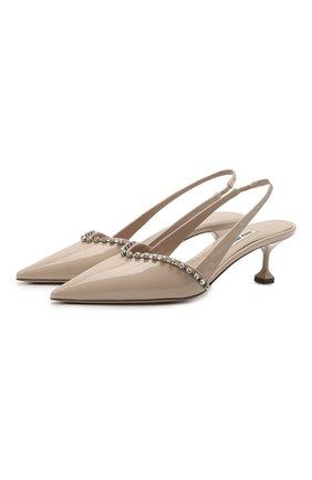 Женские кожаные туфли MIU MIU бежевого цвета, арт. 5I360D/ZBW   Фото 1