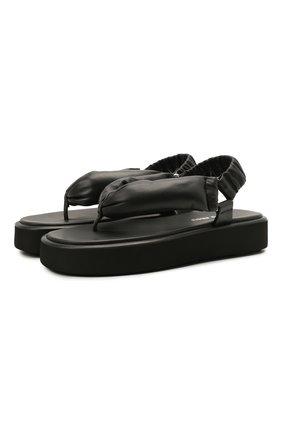Женские кожаные сандалии MIU MIU черного цвета, арт. 5Y451D/LZK   Фото 1