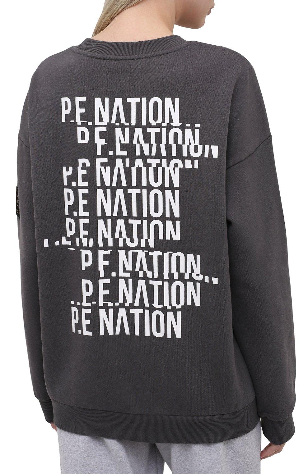 Женский хлопковый свитшот P.E. NATION серого цвета, арт. 21PE1F103 | Фото 4 (Рукава: Длинные; Длина (для топов): Стандартные; Женское Кросс-КТ: Свитшот-спорт, Свитшот-одежда; Материал внешний: Хлопок; Стили: Спорт-шик)