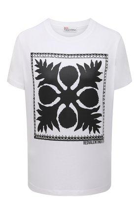 Женская хлопковая футболка REDVALENTINO белого цвета, арт. VR0MG10M/5VW   Фото 1
