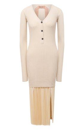 Женское хлопковое платье N21 кремвого цвета, арт. 21E N2M0/AH02/7633 | Фото 1