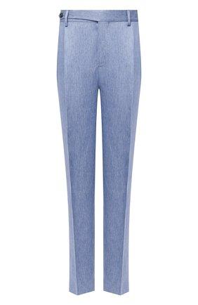 Мужские льняные брюки BRUNELLO CUCINELLI голубого цвета, арт. MD443EDNT_2   Фото 1