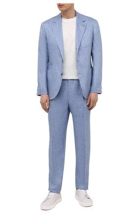 Мужские льняные брюки BRUNELLO CUCINELLI голубого цвета, арт. MD443EDNT_2   Фото 2