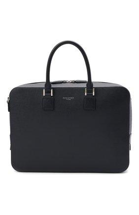 Мужская кожаная сумка для ноутбука ASPINAL OF LONDON темно-синего цвета, арт. 011-1575_13990000 | Фото 1