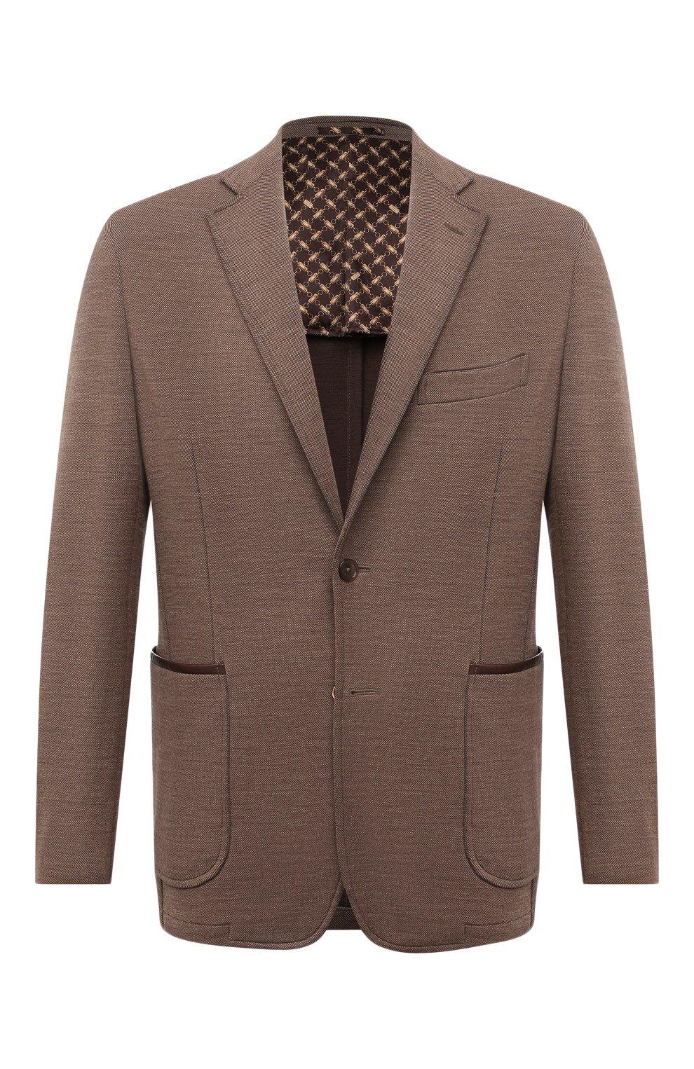 Мужской шерстяной пиджак ZILLI коричневого цвета, арт. MNV-ECKX-2-E6245/0001   Фото 1
