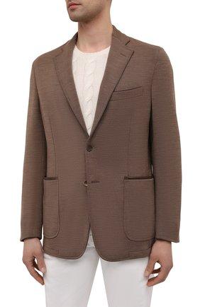 Мужской шерстяной пиджак ZILLI коричневого цвета, арт. MNV-ECKX-2-E6245/0001   Фото 3