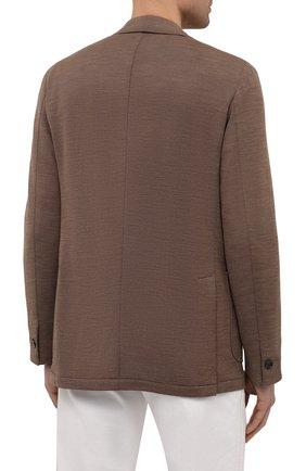Мужской шерстяной пиджак ZILLI коричневого цвета, арт. MNV-ECKX-2-E6245/0001   Фото 4