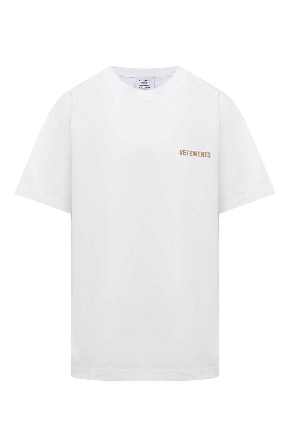 Мужская хлопковая футболка VETEMENTS белого цвета, арт. UA52TR240W 1602/M | Фото 1 (Рукава: Короткие; Длина (для топов): Стандартные; Принт: С принтом; Материал внешний: Хлопок)