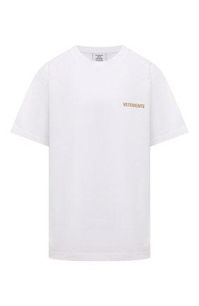 Мужская хлопковая футболка VETEMENTS белого цвета, арт. UA52TR240W 1602/M | Фото 1