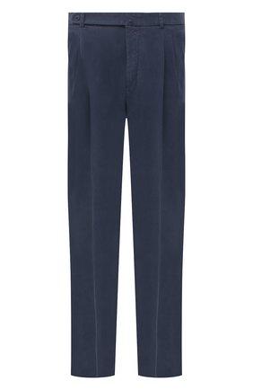 Мужские шелковые брюки BRIONI темно-синего цвета, арт. RPAI0M/P0T00/CAPRI   Фото 1 (Материал внешний: Шелк; Случай: Повседневный; Длина (брюки, джинсы): Стандартные)