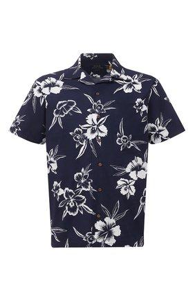 Мужская хлопковая рубашка POLO RALPH LAUREN темно-синего цвета, арт. 710835523/5301 | Фото 1 (Случай: Повседневный; Принт: С принтом; Длина (для топов): Стандартные; Материал внешний: Хлопок; Рукава: Короткие; Воротник: Акула)