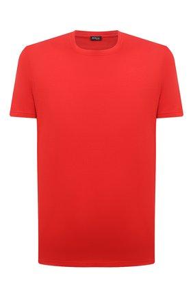 Мужская футболка из хлопка и кашемира KITON красного цвета, арт. UMK0029 | Фото 1 (Принт: Без принта; Длина (для топов): Стандартные; Рукава: Короткие; Материал внешний: Хлопок)