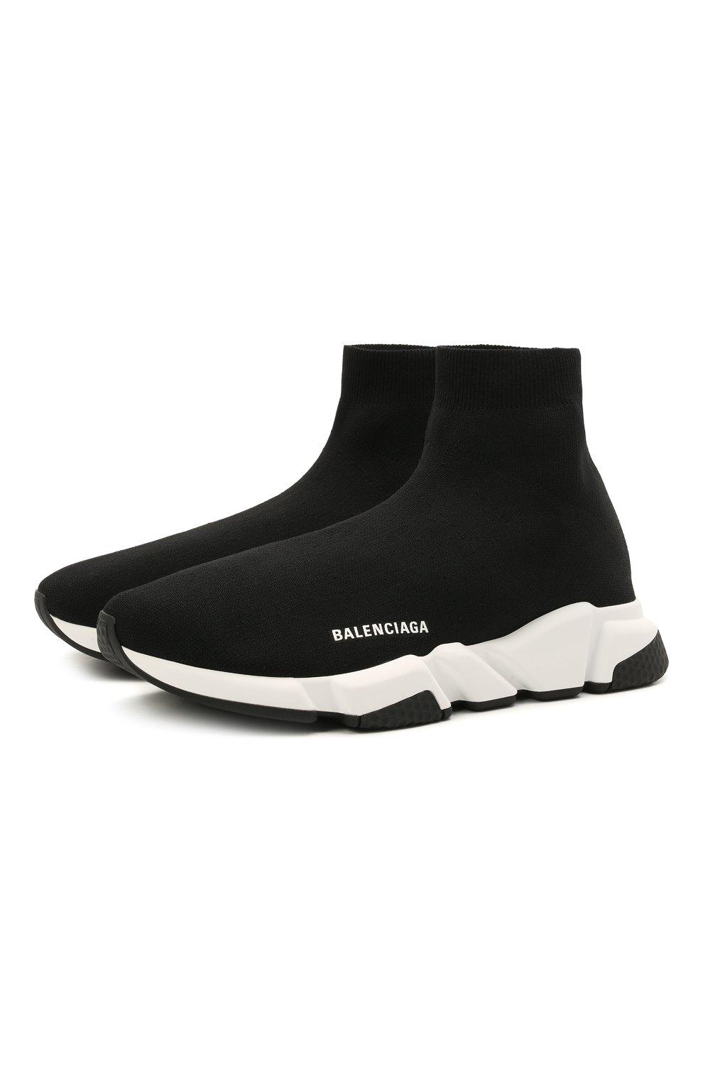 Мужские текстильные кроссовки speed 2.0 BALENCIAGA черного цвета, арт. 645056/W2DBQ | Фото 1 (Материал внешний: Текстиль; Стили: Гранж; Материал внутренний: Текстиль; Подошва: Массивная)