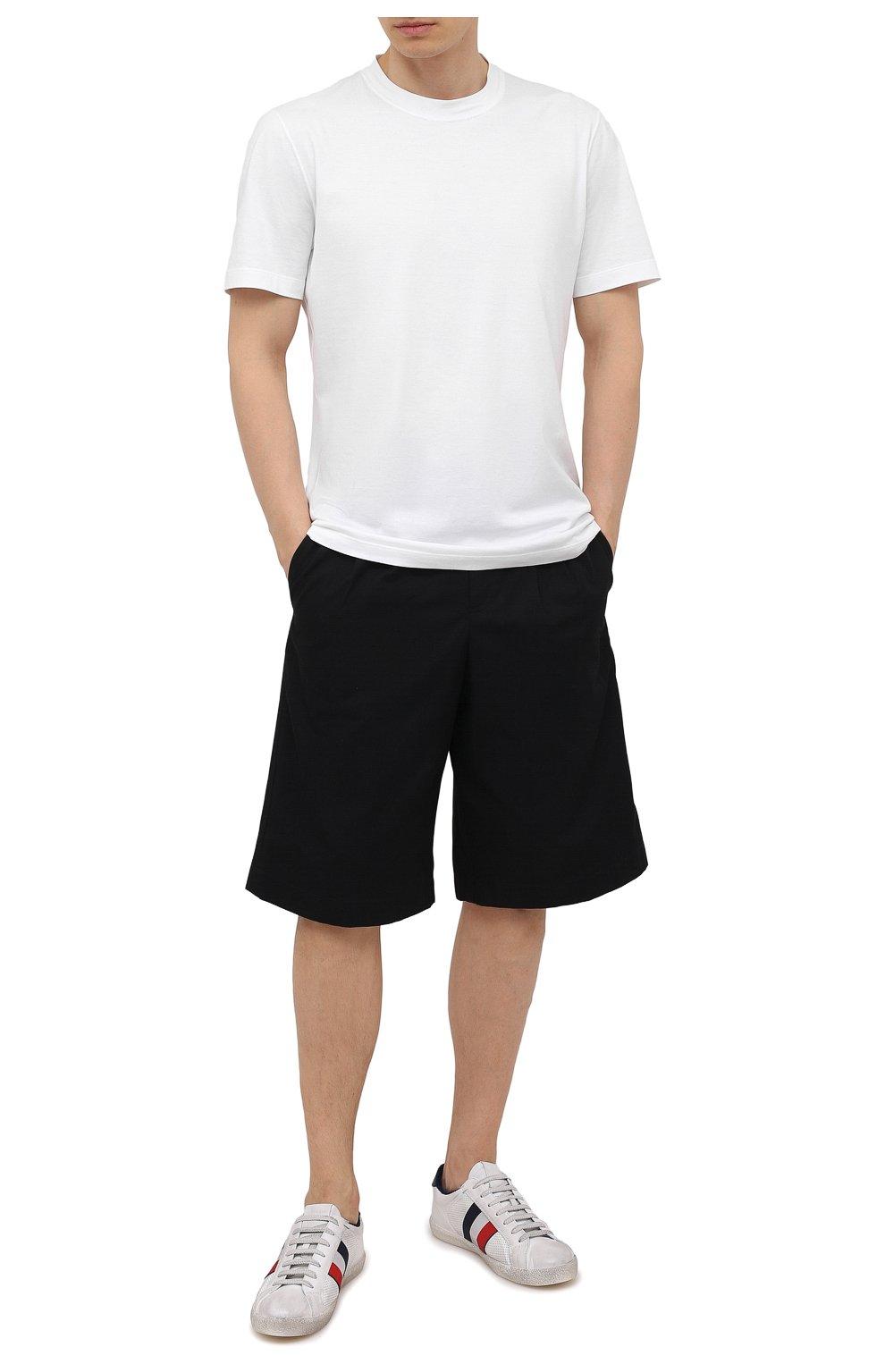 Мужские кожаные кеды MONCLER белого цвета, арт. G1-09A-4M713-00-02S7X   Фото 2 (Материал внутренний: Натуральная кожа, Текстиль; Подошва: Плоская)