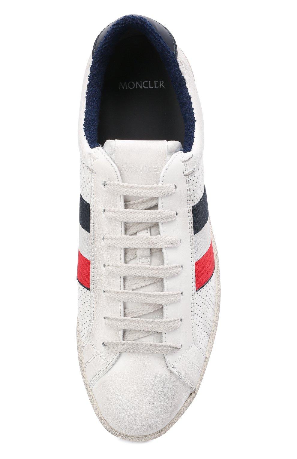Мужские кожаные кеды MONCLER белого цвета, арт. G1-09A-4M713-00-02S7X   Фото 5 (Материал внутренний: Натуральная кожа, Текстиль; Подошва: Плоская)