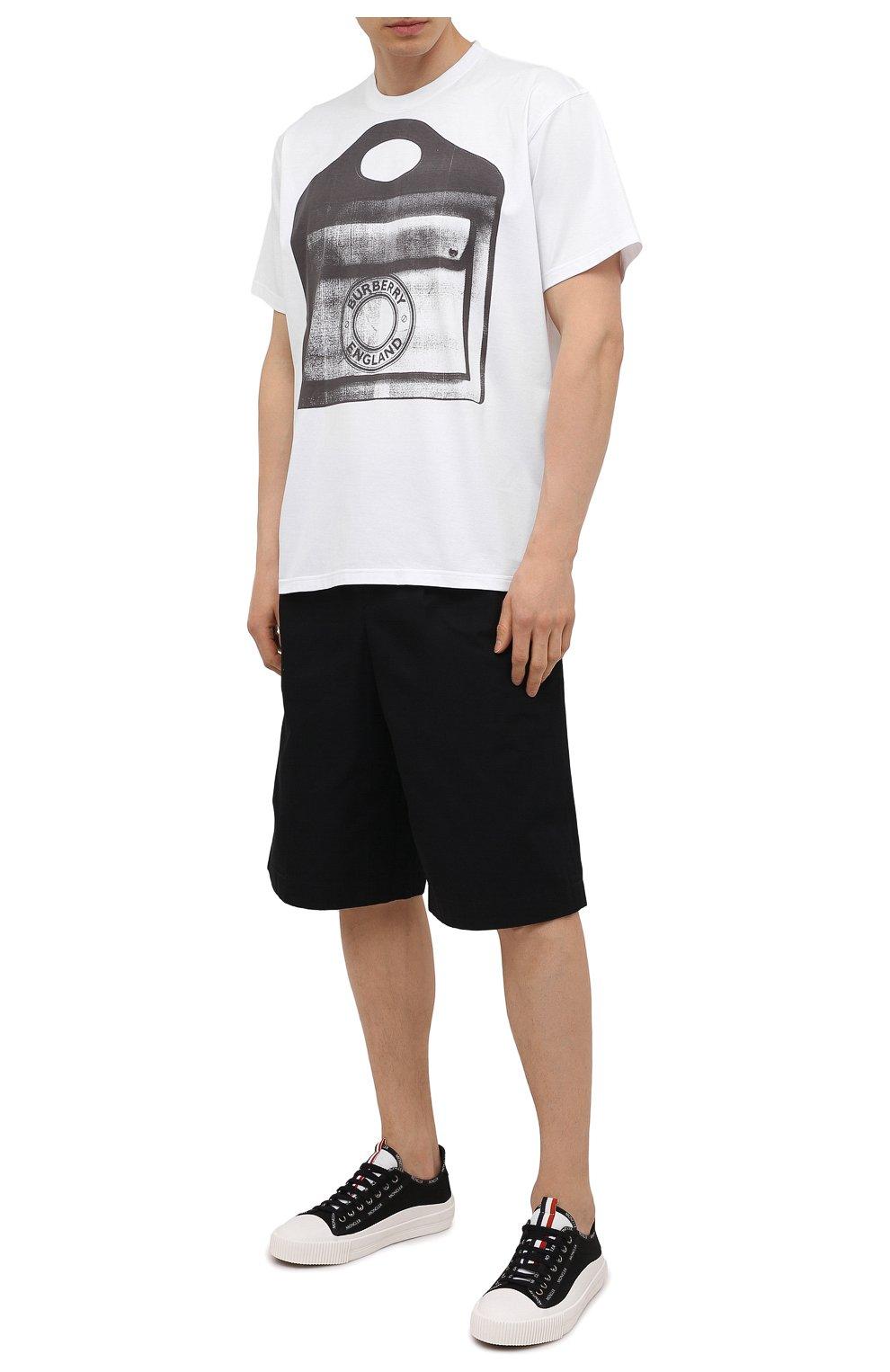 Мужские текстильные кеды MONCLER черно-белого цвета, арт. G1-09A-4M738-40-02SS9 | Фото 2 (Материал внешний: Текстиль; Материал внутренний: Натуральная кожа, Текстиль; Подошва: Плоская)