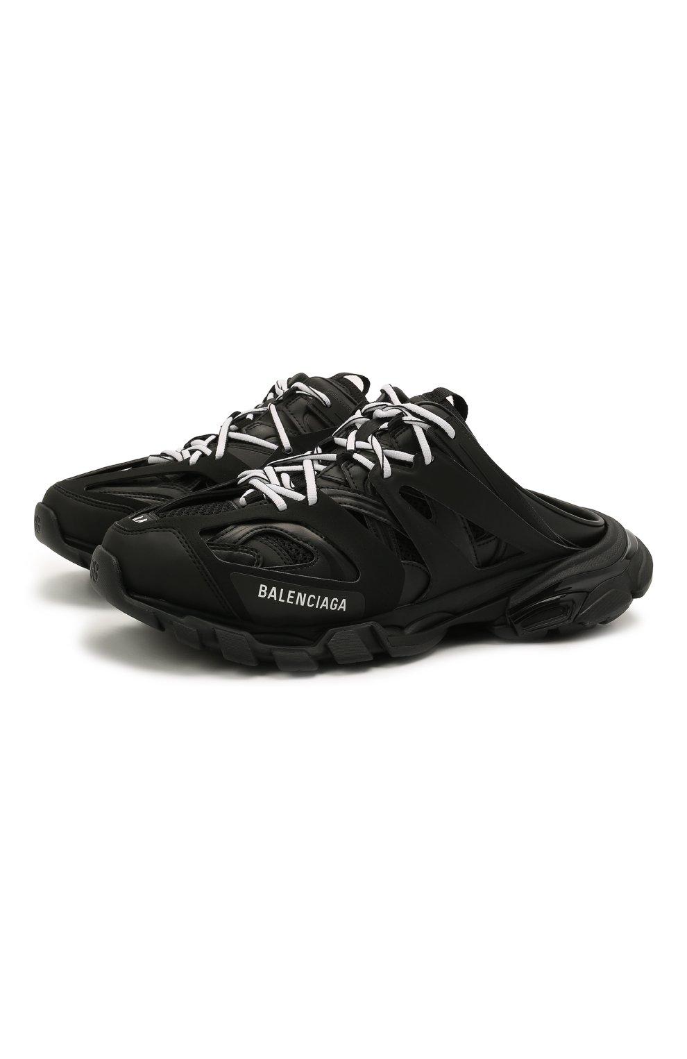 Мужские комбинированные сабо track BALENCIAGA черного цвета, арт. 653814/W3CP3   Фото 1 (Материал внешний: Текстиль; Стили: Гранж; Материал внутренний: Текстиль)