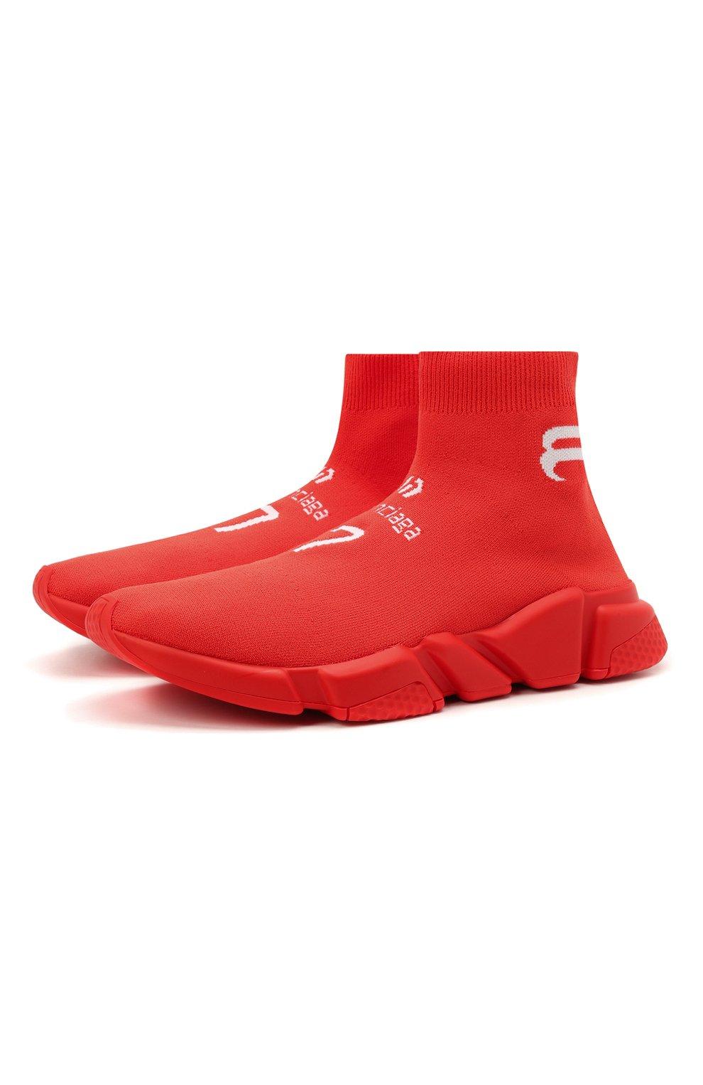 Мужские текстильные кроссовки speed BALENCIAGA красного цвета, арт. 645734/W2DBU   Фото 1 (Материал внешний: Текстиль; Стили: Гранж; Материал внутренний: Текстиль; Подошва: Массивная)