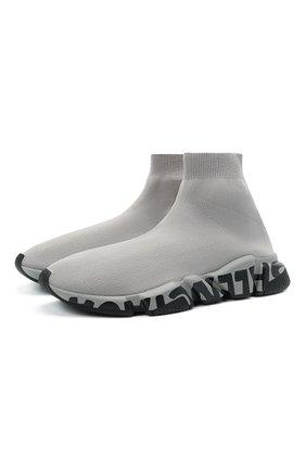 Мужские текстильные кроссовки speed BALENCIAGA серого цвета, арт. 645334/W2DB7 | Фото 1