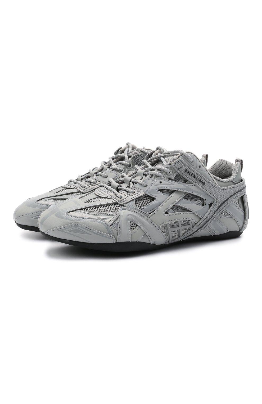 Мужские комбинированные кроссовки drive BALENCIAGA серого цвета, арт. 635498/W3AH1   Фото 1 (Материал внешний: Текстиль; Стили: Гранж; Материал внутренний: Текстиль; Подошва: Плоская)