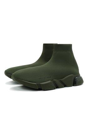 Мужские текстильные кроссовки speed clear sole BALENCIAGA хаки цвета, арт. 607544/W2DBL   Фото 1