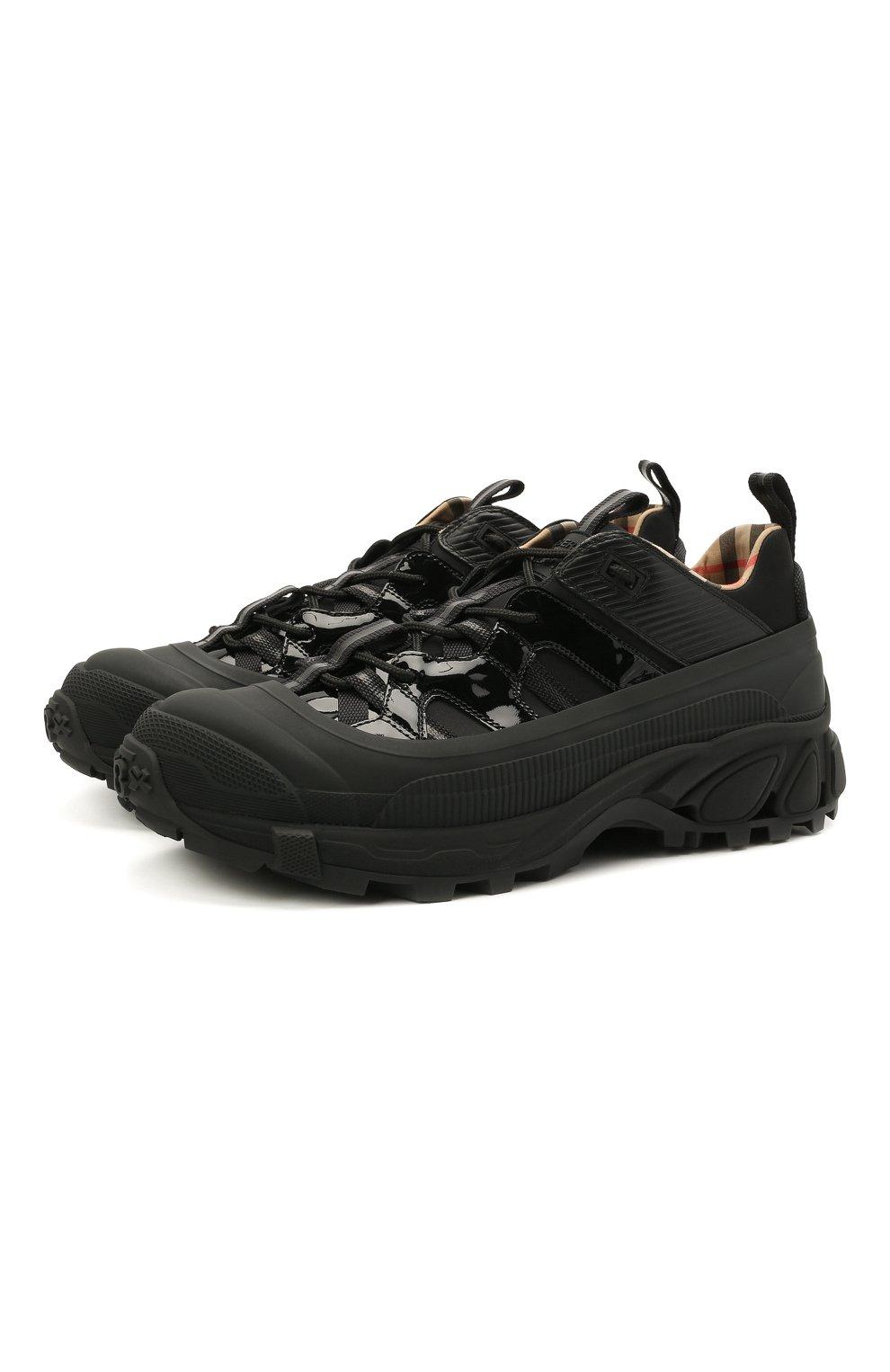 Мужские комбинированные кроссовки BURBERRY черного цвета, арт. 8035440   Фото 1 (Материал внешний: Текстиль; Материал внутренний: Натуральная кожа, Текстиль; Стили: Гранж; Подошва: Массивная)