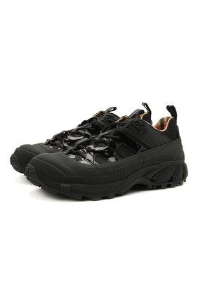 Мужские комбинированные кроссовки BURBERRY черного цвета, арт. 8035440 | Фото 1